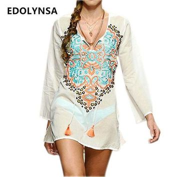 PEAPGC3 New Arrivals Beach Cover up Rayon Embroidery Vintage Swimwear Tunics Kaftan Beach Dress Beachwear Women Robe de Plage #Q233