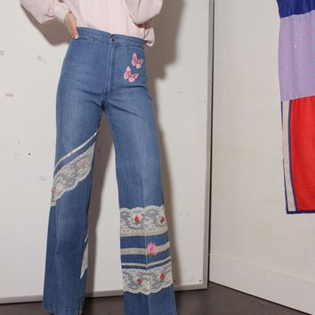 70s Butterfly Flared Jeans / S 26 Inch Waist