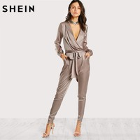 *online exclusive* wrap and tie satin jumpsuit