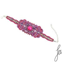 Elegant, soutache, charm, glamour bracelet, wood, crystals, glass, sparkle, gold, magneta, purple,fuschia, violet, lance