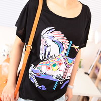 Spring Cute Carousel Horse Print Rein stone Loose Bat Sleeves Tee Multiple Colors