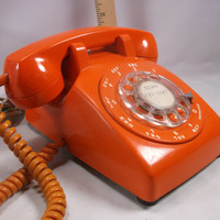 Telephone Rare Bright Orange  Rotary desk top phone .epsteam