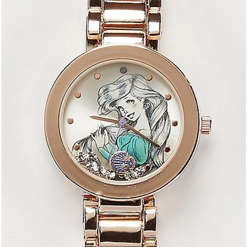 Disney Ariel Sketch Gold Bullet Band Watch - Spencer's