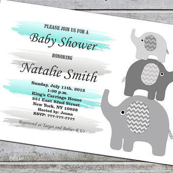Baby Shower Invitations Boy Elephant Baby Shower Invitation Invites Template Printable Teal and Grey / Instant Download (01-1A)