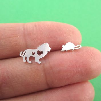 Lion and Mouse Silhouette Shaped Stud Earrings in Silver