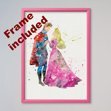 Princess Aurora and Prince Phillip Philip Disney, Sleeping Beauty Poster Watercolor print Disney Kids Nursery art little girl gift FRAMED
