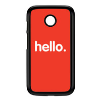 Hello Black Hard Plastic Case for Moto E by textGuy