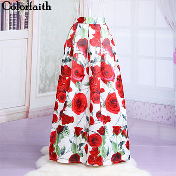 Skirts 23 Patterns Maxi Skirt Women Fashion Satin Flared Long Skirt Vintage Retro Rose Floral Print Pleated Maxi Skirt  SK064