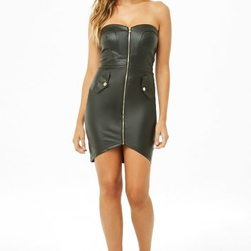 Faux Leather Zip-Front Tube Dress