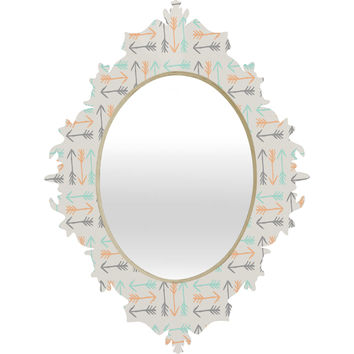 Allyson Johnson Peachy Arrows Pattern Baroque Mirror