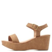 Camel Single Strap Flatform Wedge Sandals by Charlotte Russe