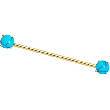 Faux Turquoise Gold Tone End to End Industrial Barbell 38mm