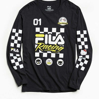 FILA X Sanrio For UO White + Yellow Racing Long Sleeve Tee | Urban Outfitters