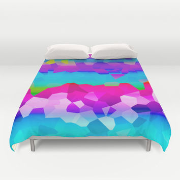 Rainbow mosaic Duvet Cover by Bubblemaker
