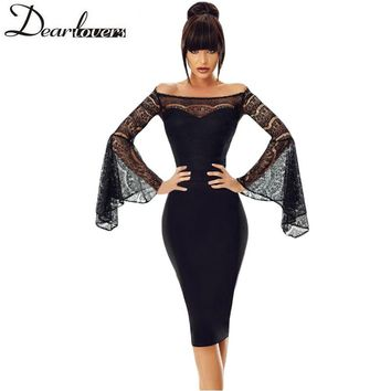 Dear Lover Lace Sexy Dress Black Long Sleeve Off Shoulder Bodycon Party Dress Hollow Out Elegant Midi Dress 2018 Elbise LC220269
