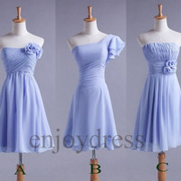 Custom Sky Blue New Cheap Short Bridesmaid Dresses 2014 Simple Prom Dresses Cheap Evening Gowns Cheap Party Dress New Homecoming Dresses