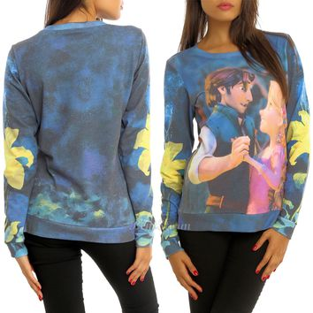 Licensed cool Disney TANGLED Rapunzel Flynn DUO Dancing Crewneck  Sweatshirt  Pullover Top