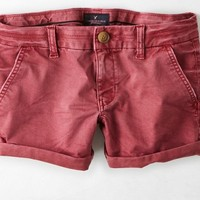 AEO Women's Twill Midi Short (Bordeaux)
