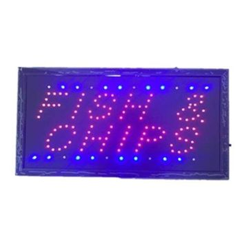 Neon Lights LED Animated Fish Chips Sign Customers Attractive Sign  Shop 110V
