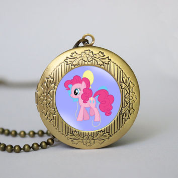 My Little Pony Pinkie Pie vintage pendant locket necklace Pinkie Pie locket necklace girlfriend boyfriend gift Bridesmaid Gift