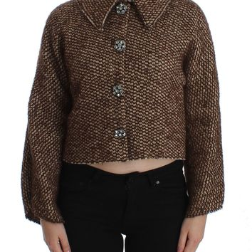 Brown Wool Tweed Crystal Jacket Coat