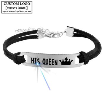 FUNIQUE Customized Engrave Bracelet  DIY Stainless Steel Rope Chain Simple Statement Braclets For Lover Couples Fashion Jewelry