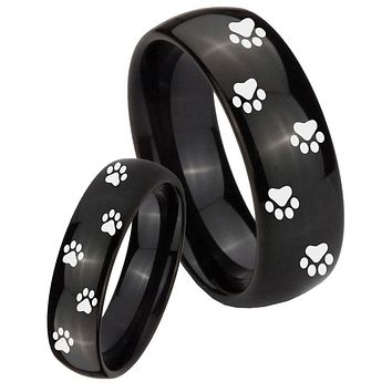 His Her Classic Dome Paw Print Design Shiny Black Tungsten Wedding Rings Set