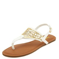 GOLD EMBELLISHED CUT-OUT THONG SANDALS