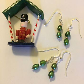 Green Pearl Earrings Christmas Holiday Jewelry Handmade Gold and Green Dainty Drop Earrings Stocking Stuffer Gift Pine Tree Color Jewellery