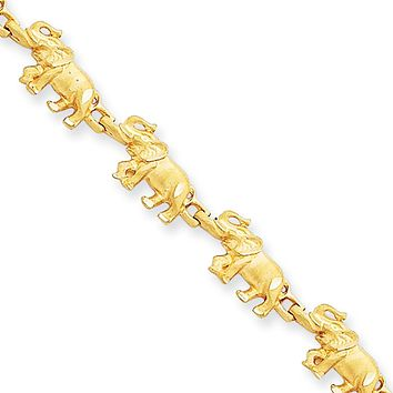 14k Yellow Gold Elephant Bracelet - 7 Inch