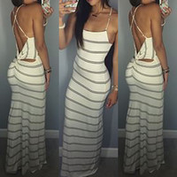 Stripe Print Halter Neck Backless Strap Cut Out Maxi Dress