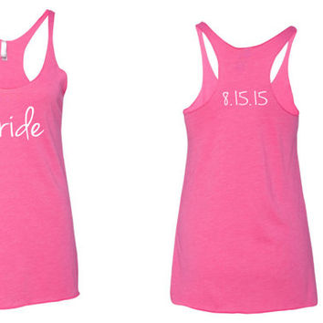 Bride Tank Top. Wedding Day Tank Top. Bride Shirt. Bride to be. Bride. Wedding. Racerback Tank Top