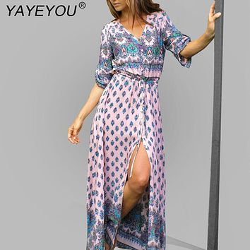 YAYEYOU S-5XL Summer Beach Boho Dress Plus Size Women Floral Maxi Dress Half Sleeve Wrap Bohemian Vintage Long Tunic Vestidos
