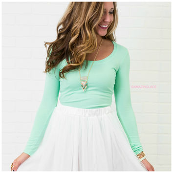 Let It Go Mint Long Sleeve Basic Top