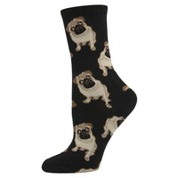 Socksmith Pug Dog Women's Novelty Sock, Black