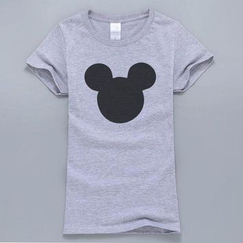 LMFCI7 2017 New Summer Mouse Head Printed Women T-Shirt Kawaii Harajuku Style T-Shirt Female Tops Cotton High Quality T Shirts For Fans