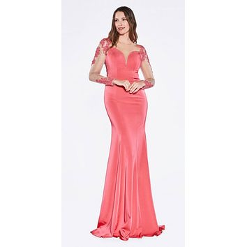 Floor Length Formal Gown Hot Pink With Nude Long Sleeves