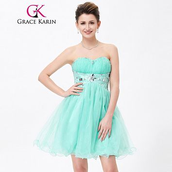 Grace Karin Cocktail Dress 2017 Sweetheart Beaded Evening Banquet Wedding Party Short Pale Turquoise Special Occasion Dresses