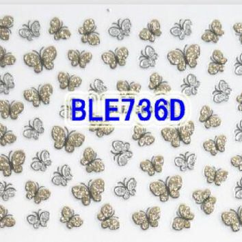 1pcs Fashion Gold Silver Bow 3d DIY Nail Art Glitter of Nail Stickers Decals Foils Decorations Manicure Tips for Polish BLE736d