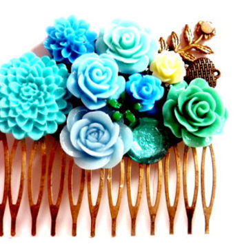 Aqua Floral Hair Comb, Turquoise Blue Mint Green Flower Hair Accessory Barrette Bobby Pin Wedding Bridal Prom Keepsake Hair Jewelry
