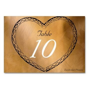 Wedding Table Number Copper Hearts Wedding Card