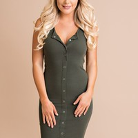 Slim Chance Button Up Bodycon (Olive)