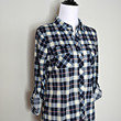 """""""Country Backwoods"""" Plaid Flannel Top - Navy/Pink"""