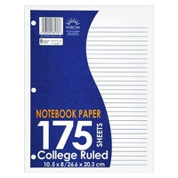 "Norcom Filler Paper, College Ruled, 175pgs, 10.5"" x 8.5"""