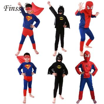 Cool Hero Red Spiderman Costume Boys Cosplay Batman Black Spider Man Halloween Costume for Kids Carnival Clothes Hat Pants Capes MaskAT_93_12