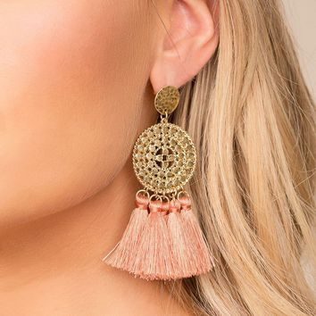 Naomi Blush Tassel Earrings