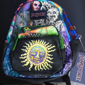 One-of-a-kind Hand-painted Music Lover's Mini Jansport Backpack // Feat. Grimes, Sublime, The Drums, Kings of Leon, Crystal Castles, MGMT