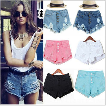 2016 Summer Style Women Candy Color Hole Denim Shorts High Waist Solid Casual Jeans Shorts Vintage Cotton Short Pants Plus Size