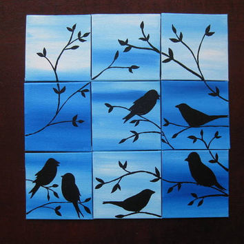 9 birds sparrows canvases canvas paintings set bird tiny  small nine painting blue trees set