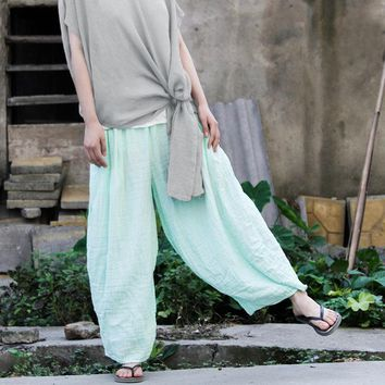 Johnature Gauzy Light  Worsted Cotton Wide Leg Pants